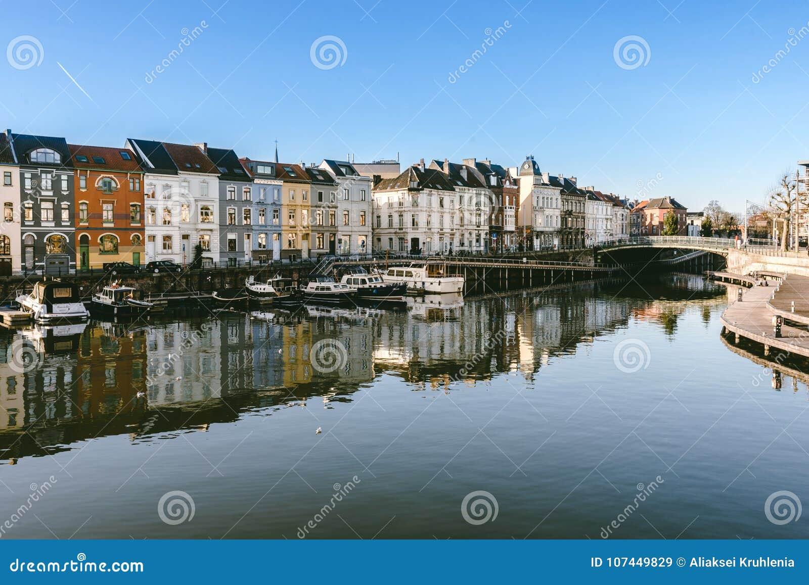 Portus Ganda Marina In Ghent Editorial Stock Image - Image