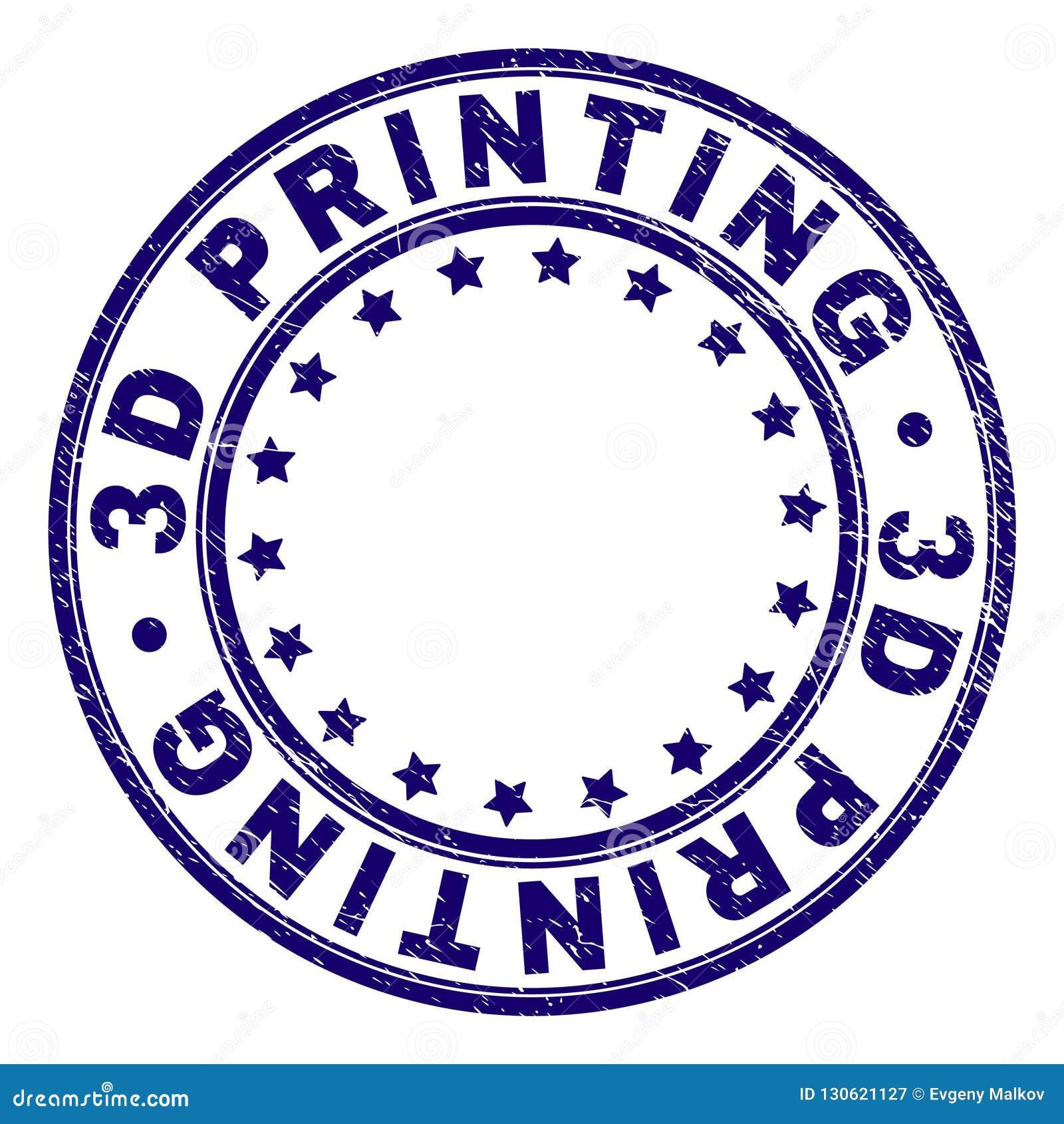 Porysowana Textured 3D Round znaczka DRUKOWA foka