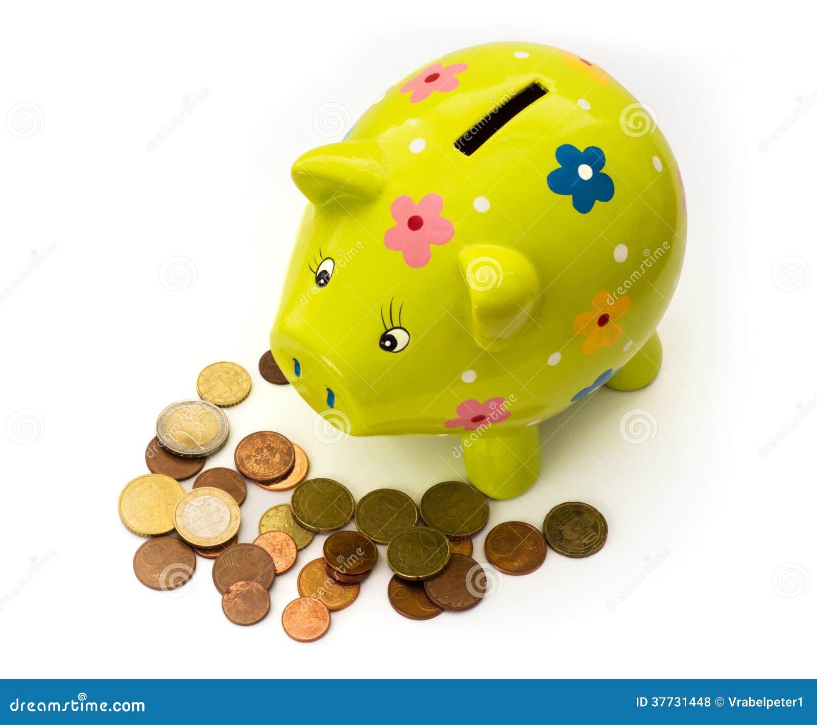 Porzellansparschwein Und Münzen Stockfoto Bild Von Hell Augen