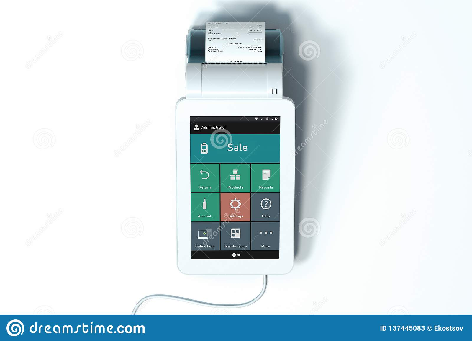 POS Payment Terminal  NFC Payments Concept  3d Rendering  Stock