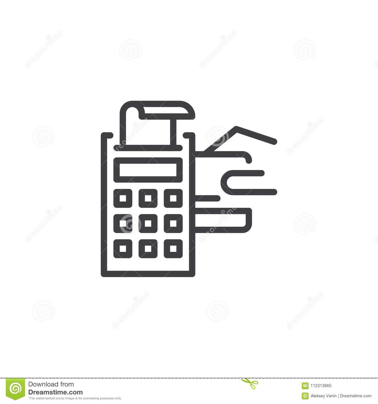 pos terminal with credit card and receipt outline icon stock vector