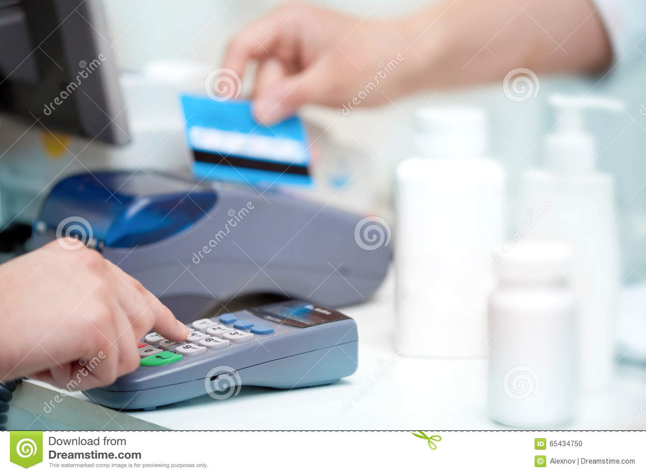 POS Terminal Transaction. Hand Swiping A Credit Card. Stock Photo ...