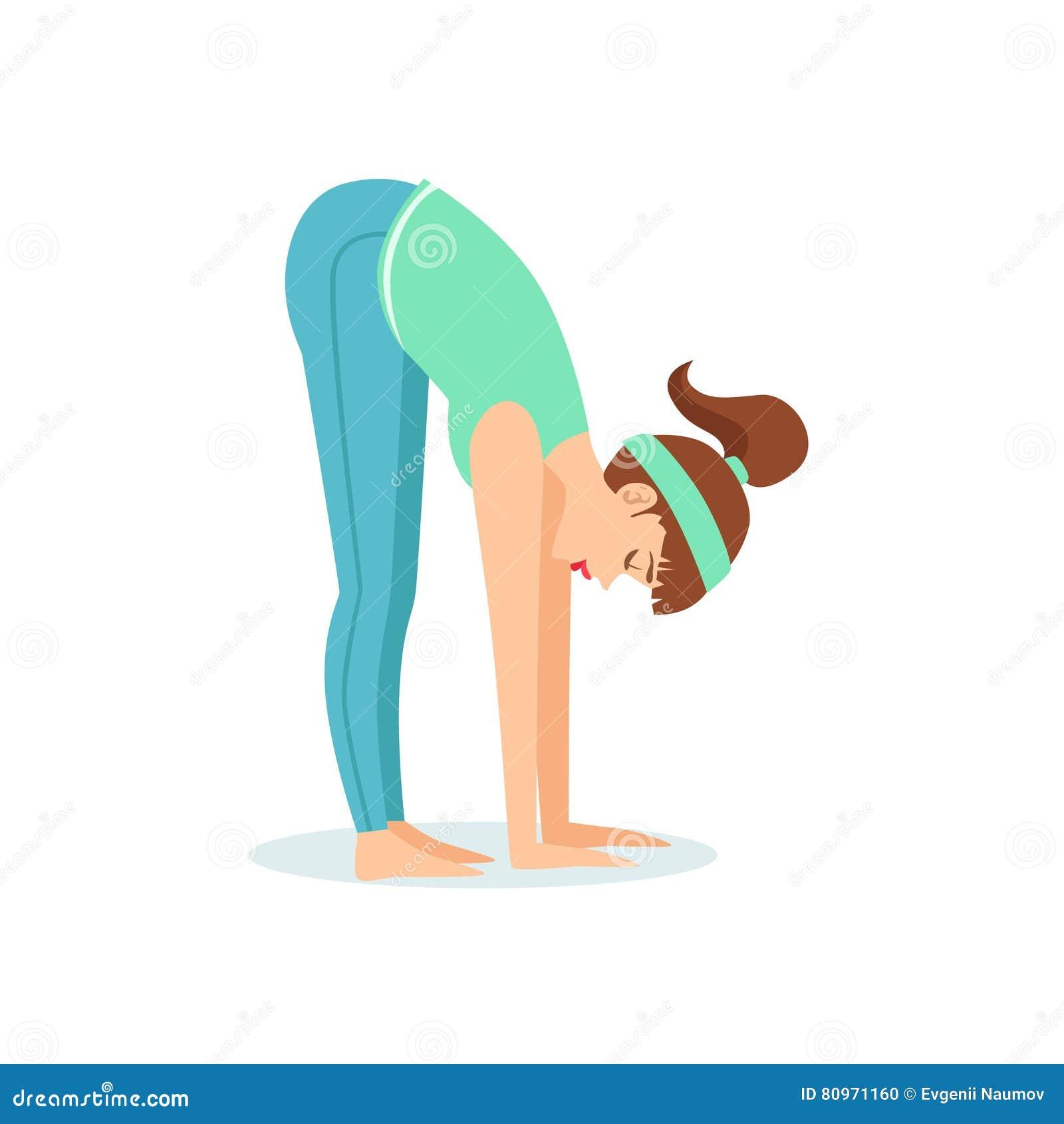 Posa di andata diritta di yoga di Uttanasana della curvatura dimostrata dagli Yogi del fumetto della ragazza con la coda di caval