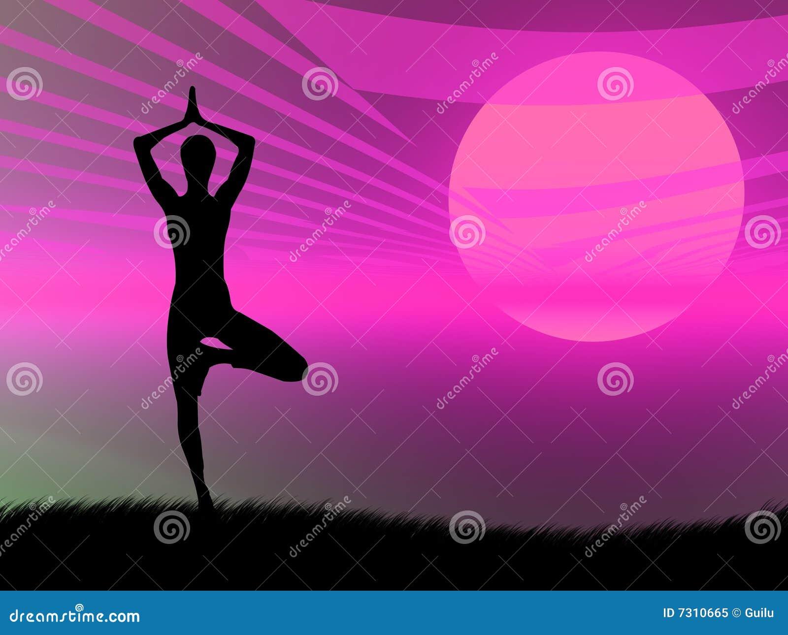 Posa di yoga al tramonto