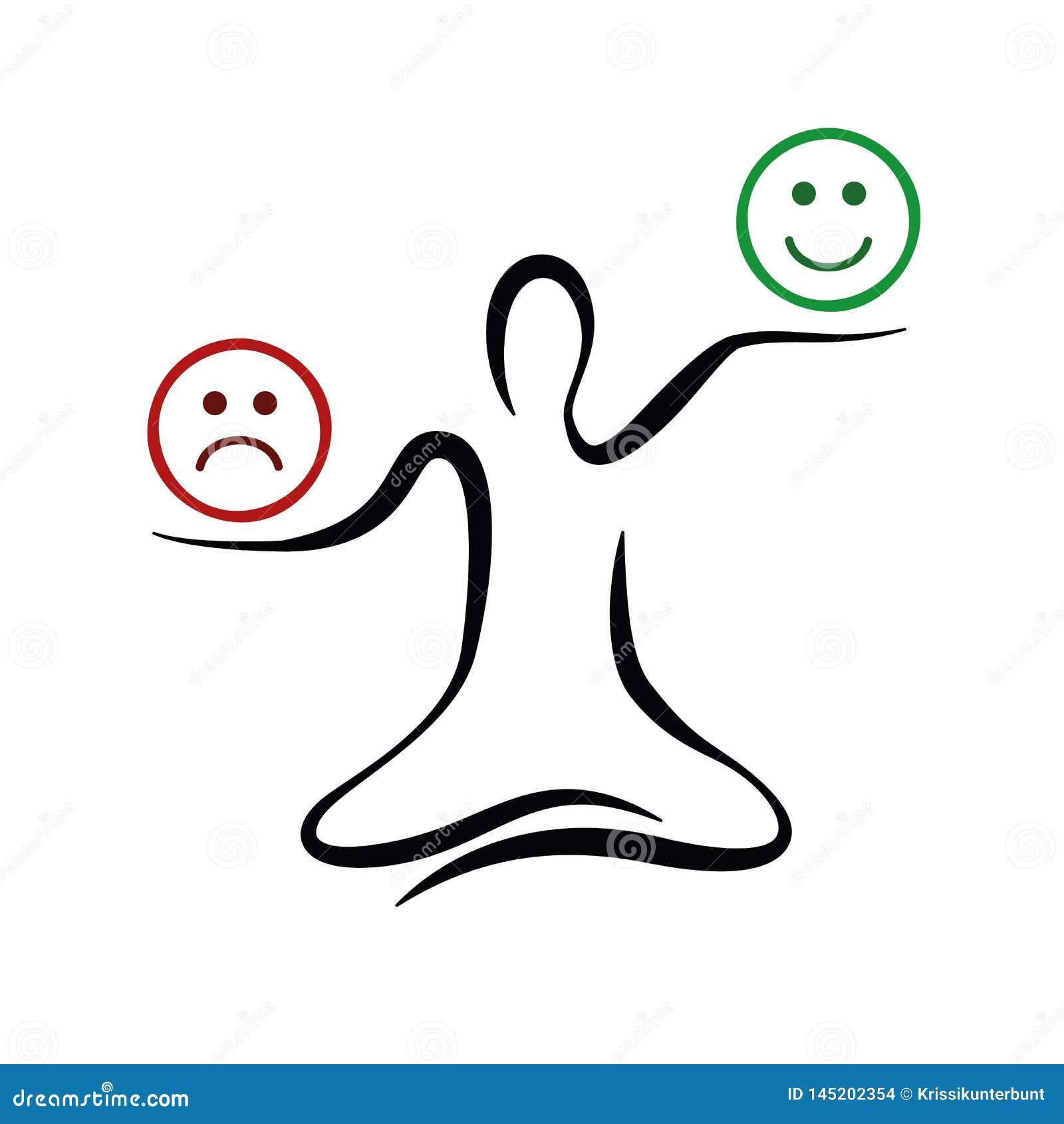 Pose de pensée positive et négative de yoga d inspiration et de motivation