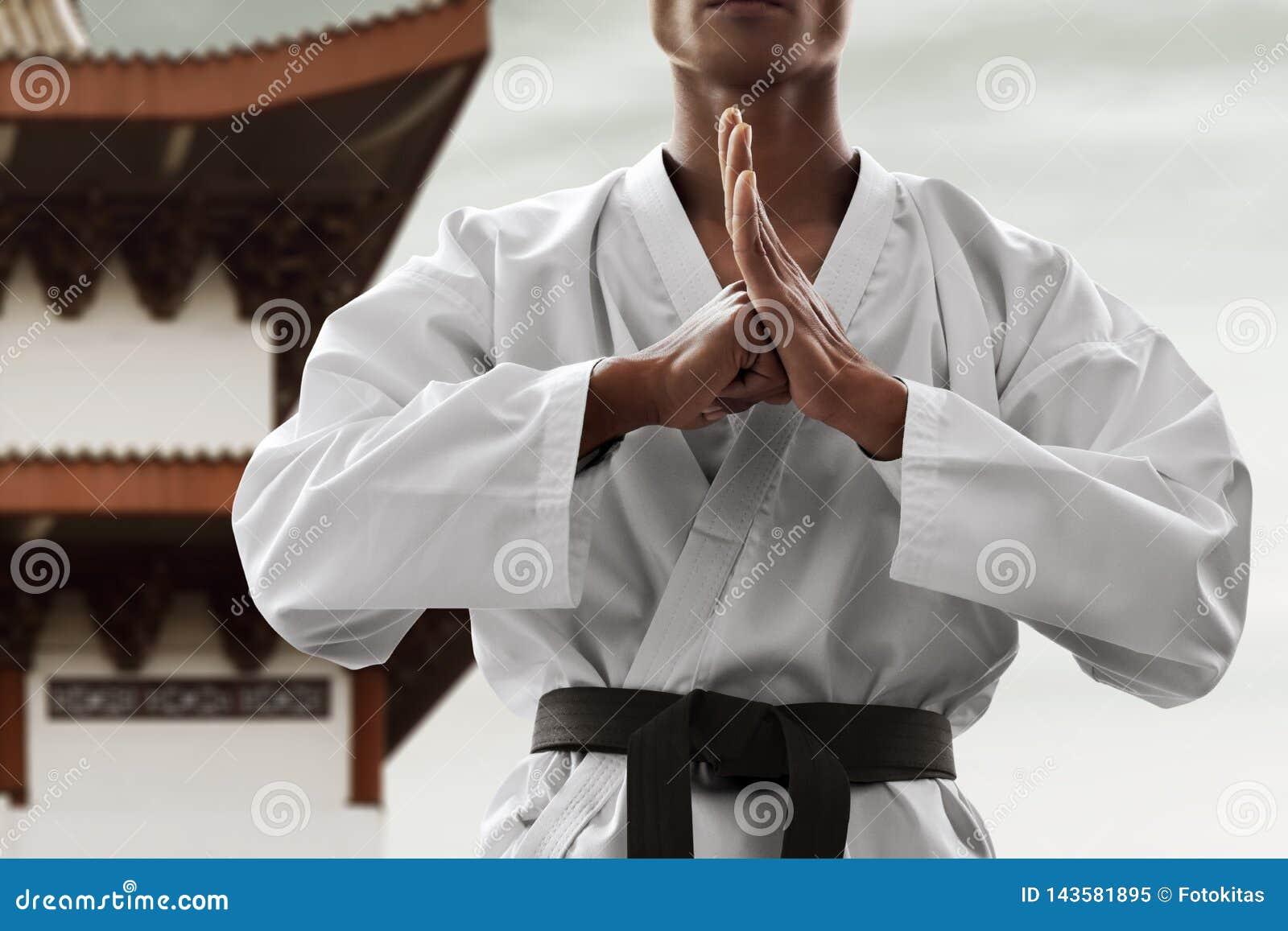 Pose de salutation de combattant d art martial