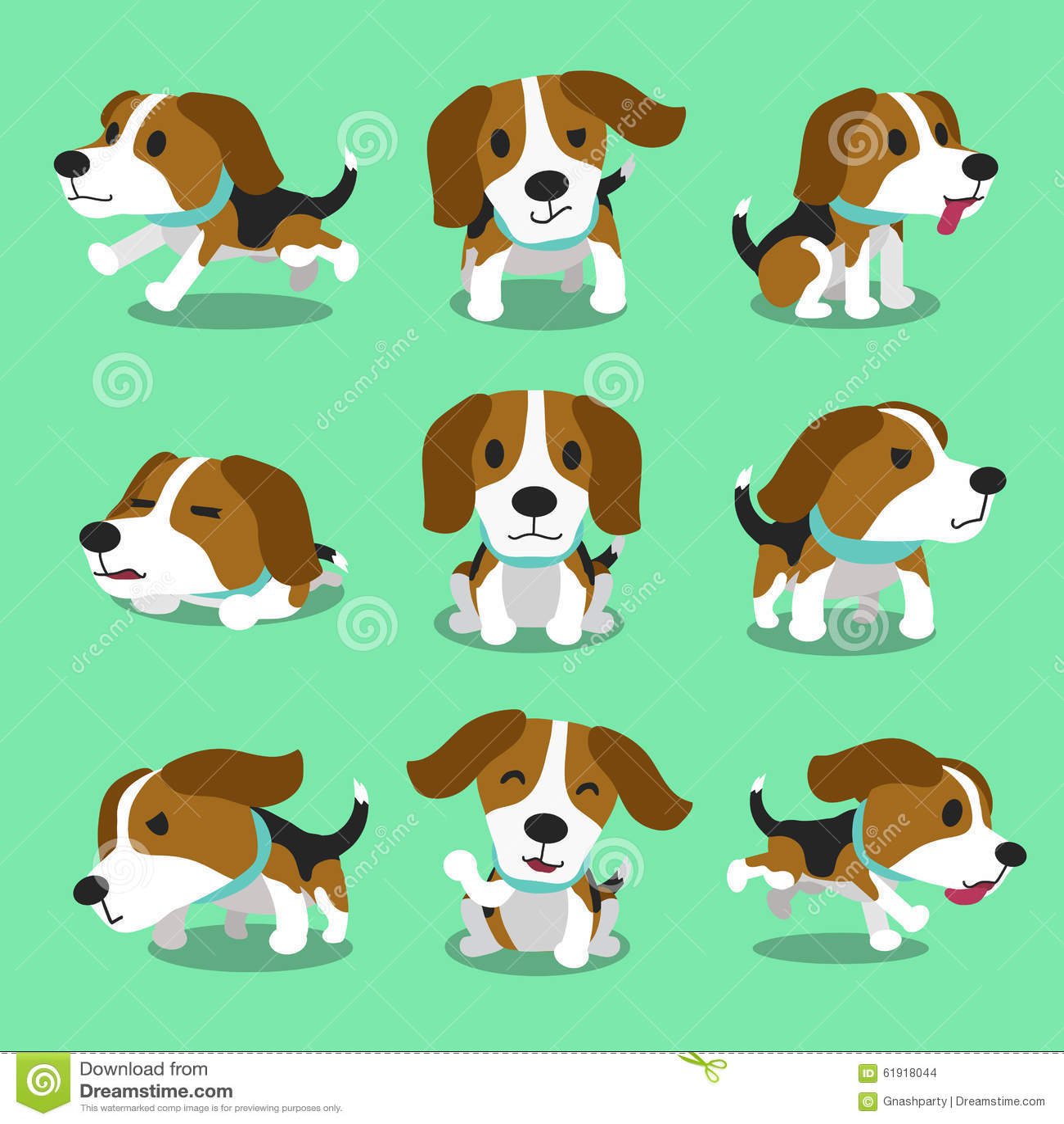Pose del cane del cane da lepre del personaggio dei cartoni animati