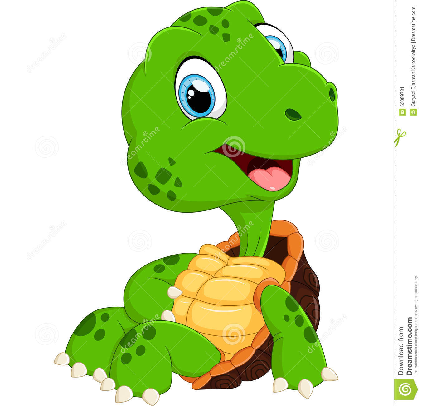 Download Pose Mignonne De Bande Dessinée De Tortue Illustration de Vecteur - Illustration du adorable, heureux: 63089731