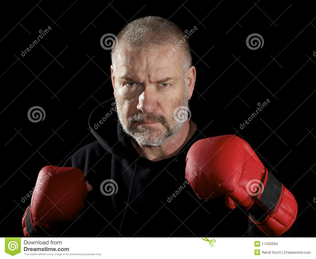 Posed fighter wearing gloves