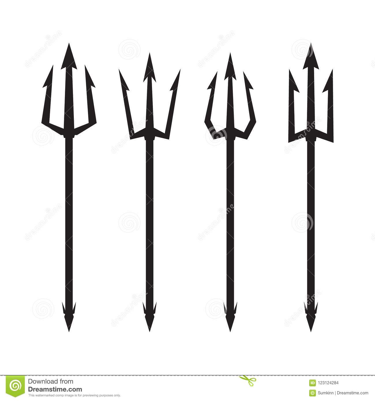 Poseidon S Trident Set Stock Vector Illustration Of Fork