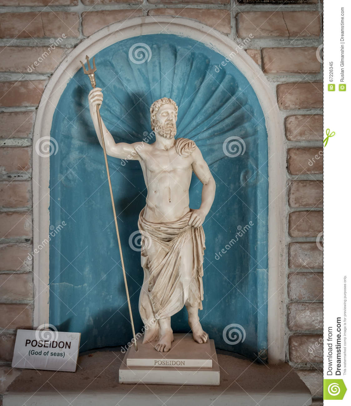 Poseidon statue god of sea in greek mythology stock image image 67226345 - Poseidon statue greece ...