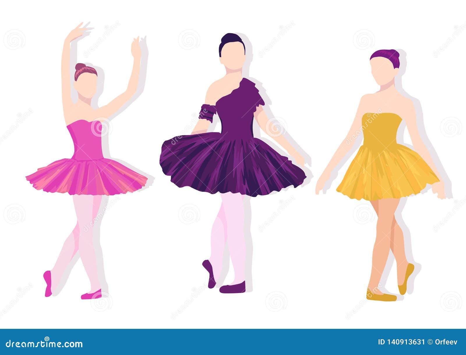 Poserar av balettuppsättning Färgrik illustration med flickadans