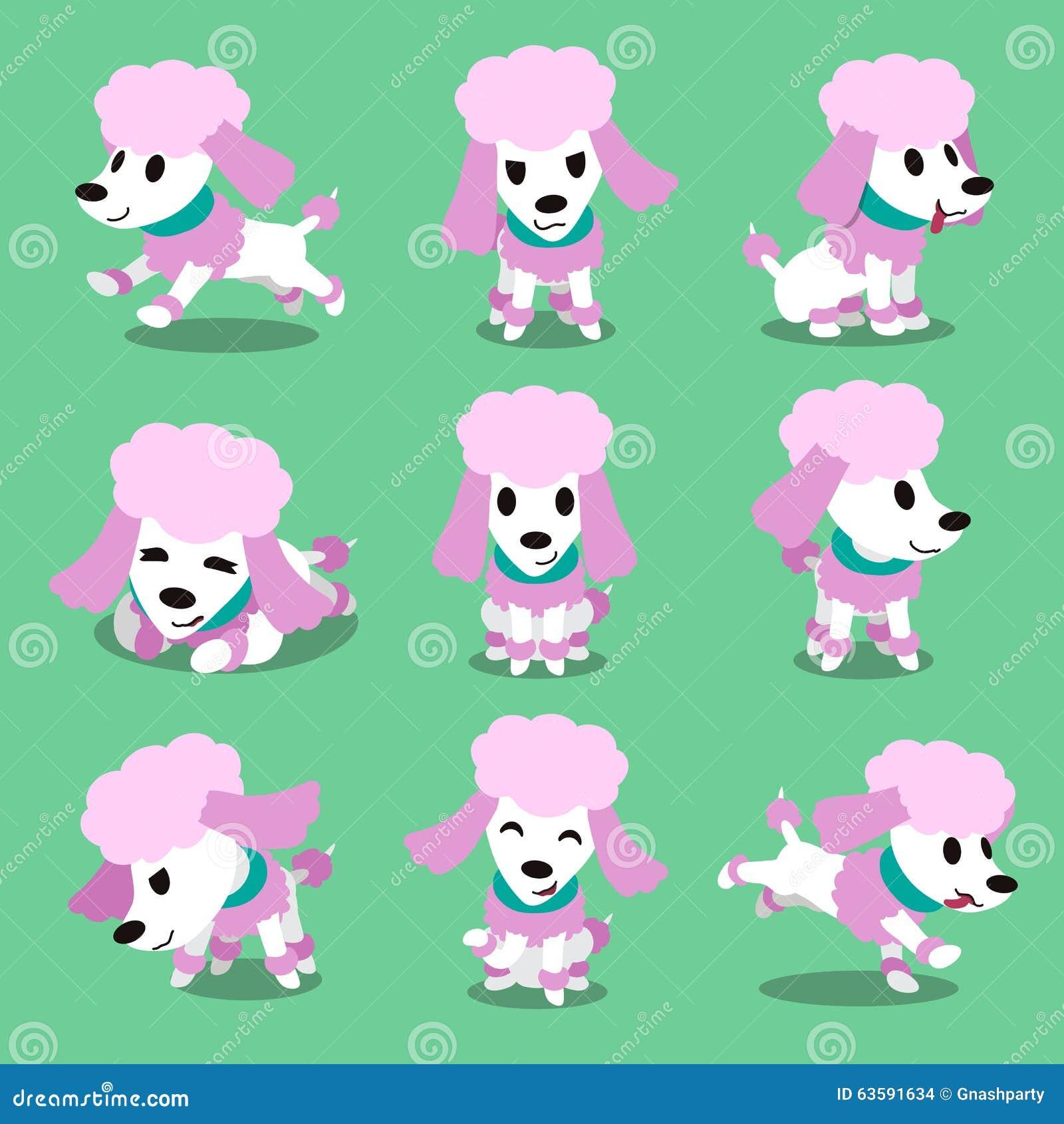 Poses de chien de caniche de personnage de dessin anim illustration de vecteur image 63591634 - Dessin caniche ...
