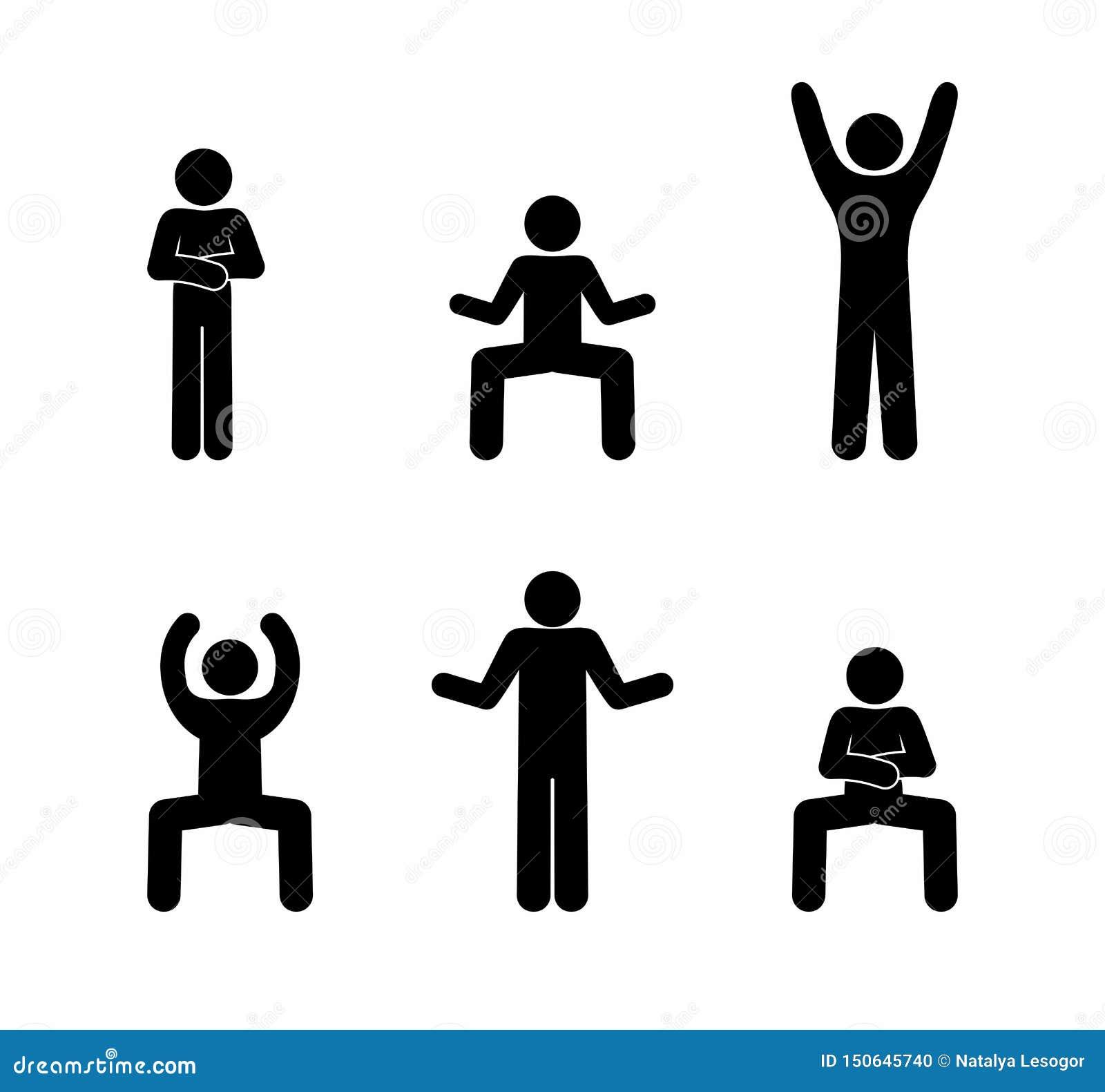 Poses de pictogramme de danse d homme de chiffre de bâton diverses
