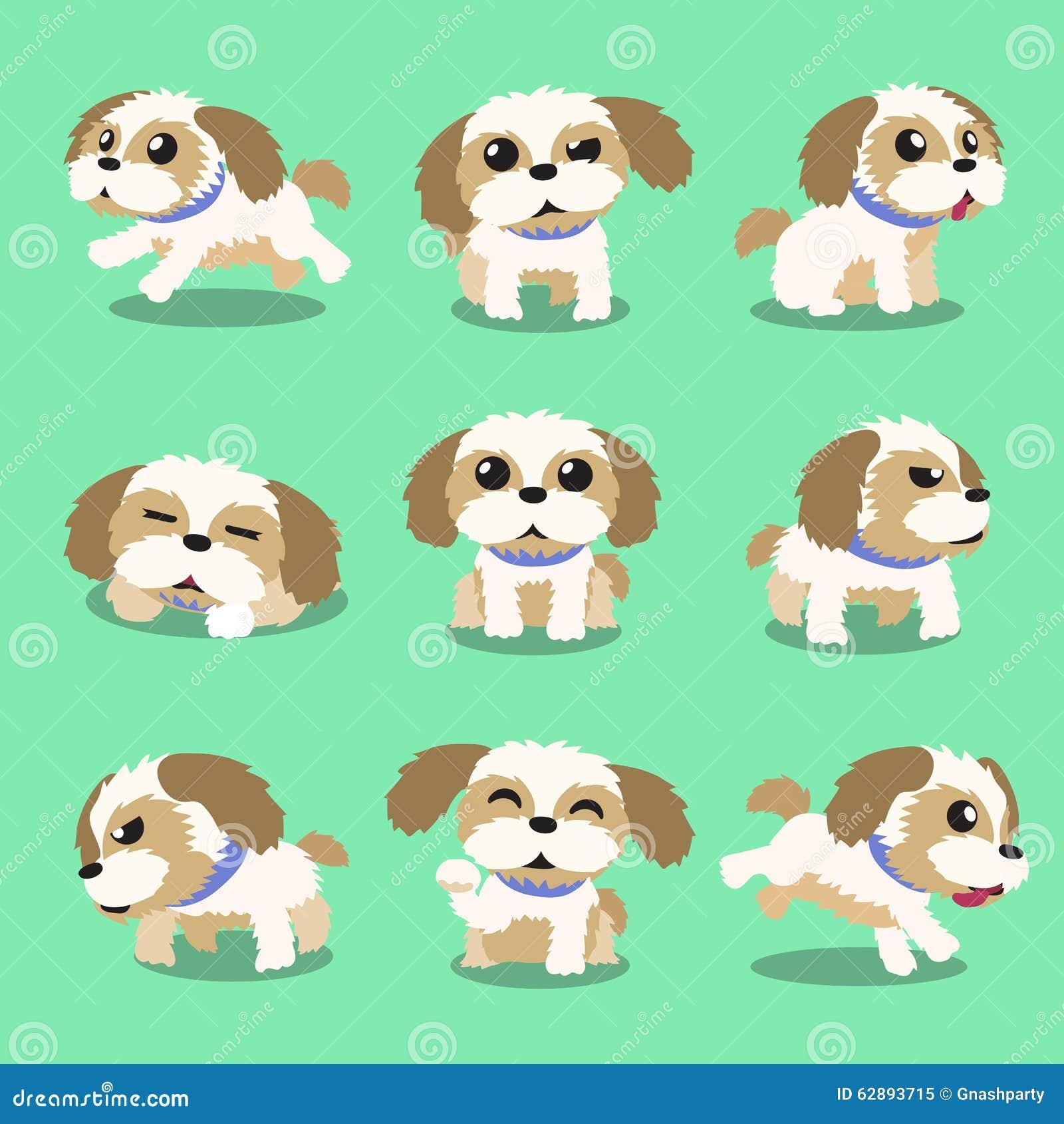 Poses do cão do tzu do shih do personagem de banda desenhada