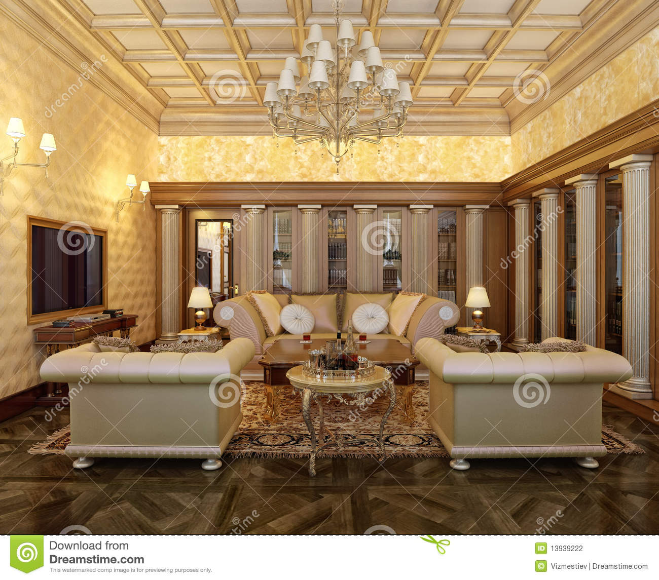 Posh Office In A Classic Style Stock Illustration Image