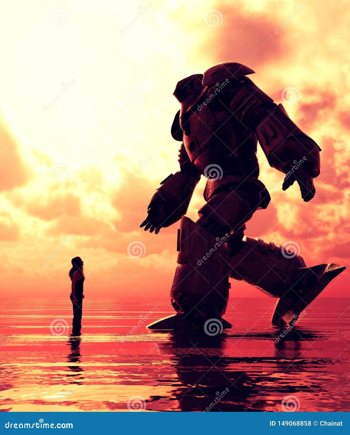 Posição da menina no mar que olha a um robô gigante