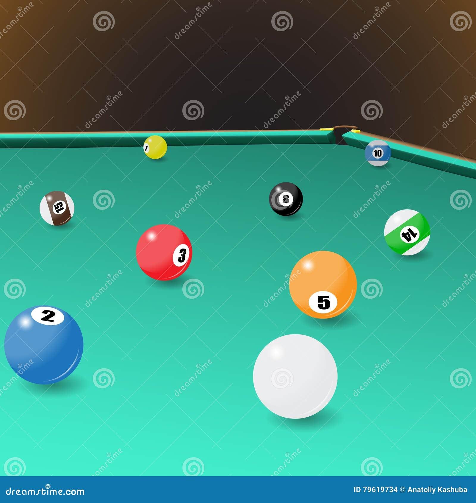 Posição das bolas de jogo do bilhar sobre uma mesa de bilhar