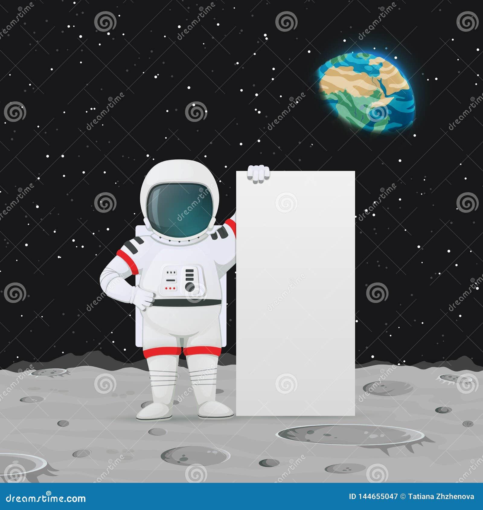 Posição do astronauta na superfície da lua perto do sinal grande O espaço, enterra e protagoniza no fundo