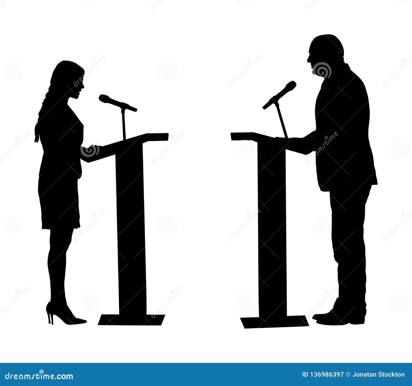 Posição do orador público na silhueta do vetor do pódio Evento da cerimônia da reunião da abertura da mulher do político Discurso