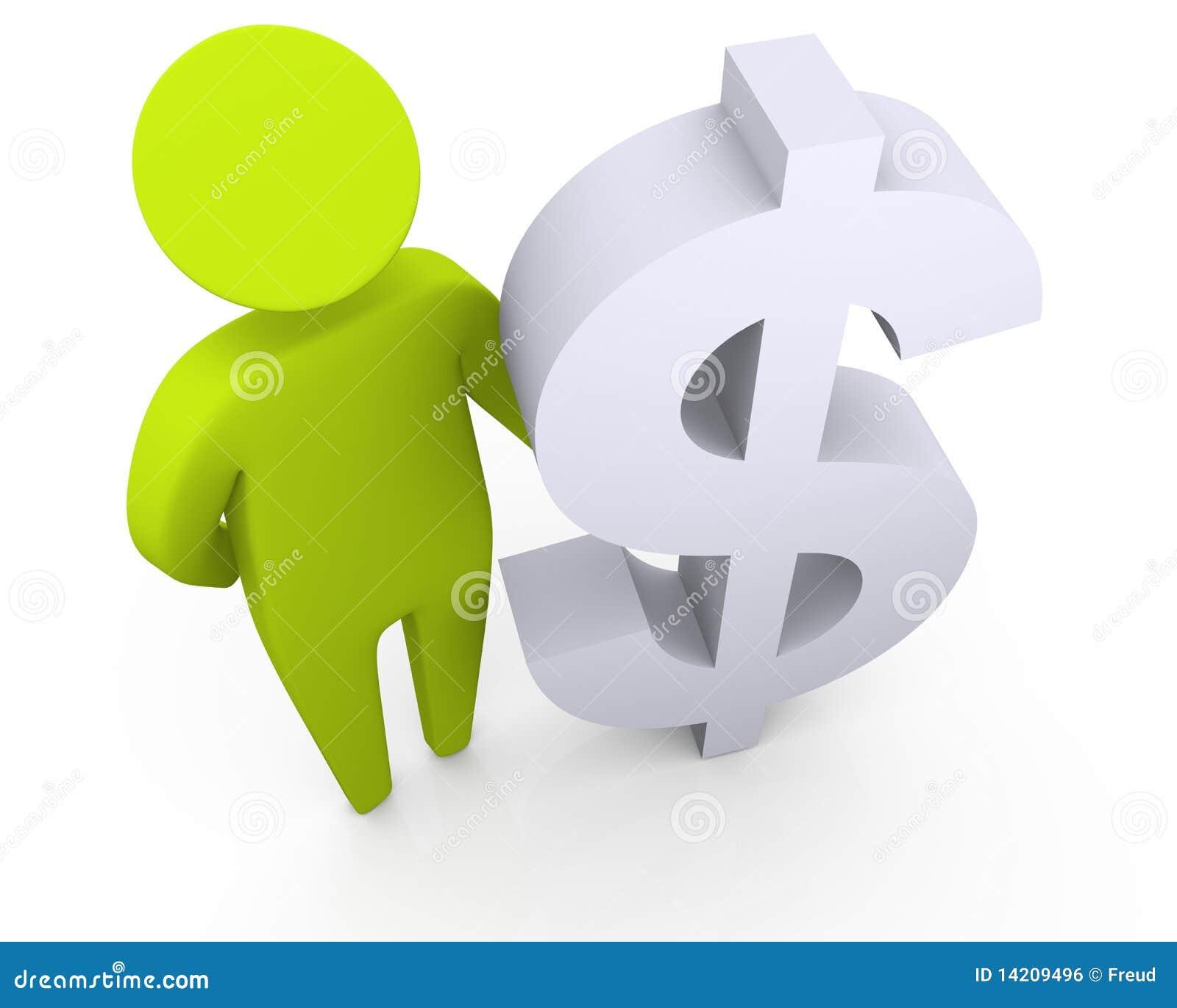 Posição e terra arrendada do homem rico um símbolo do dólar
