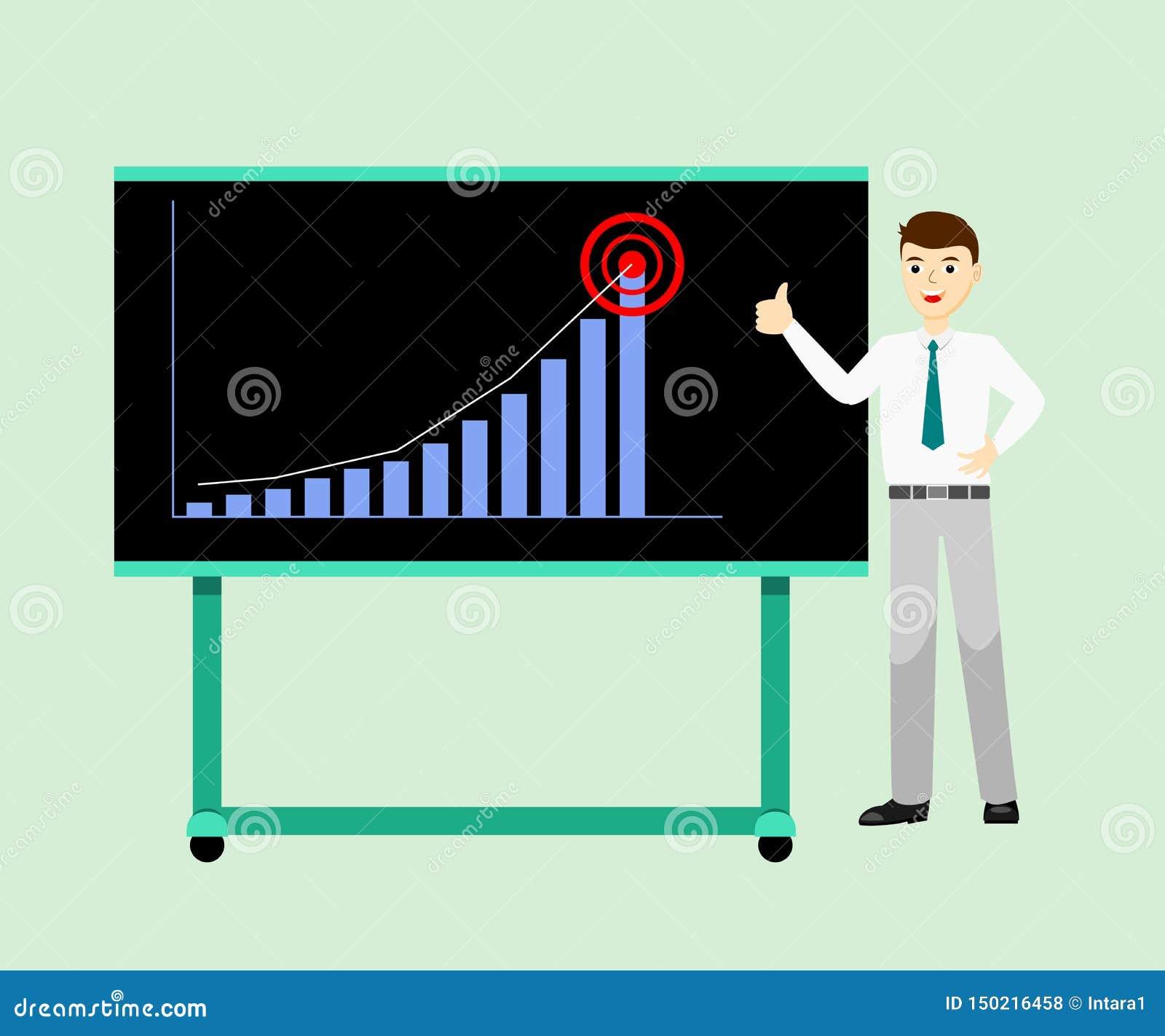A posição oficial do desgaste do homem de negócios perto da placa da apresentação e os polegares-acima da doação assinam porque d