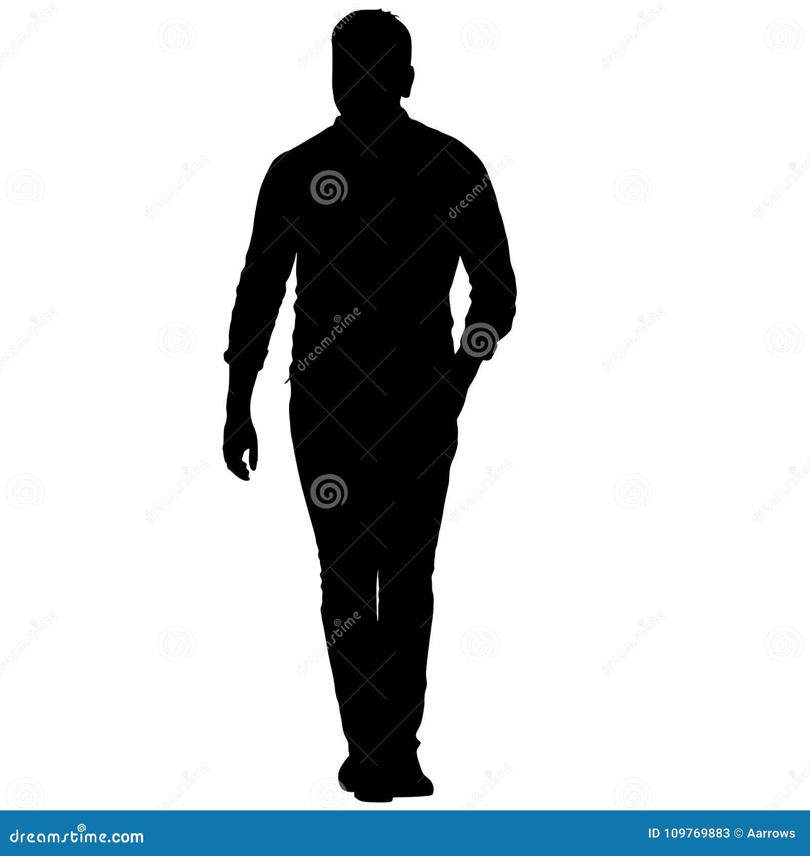 Posição preta do homem da silhueta, pessoa no fundo branco