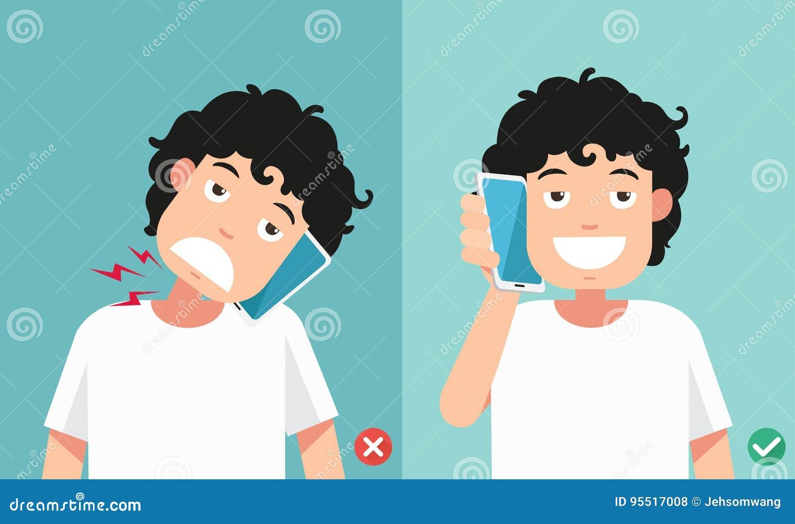 Posições erradas e corretas para falar através do telefone esperto