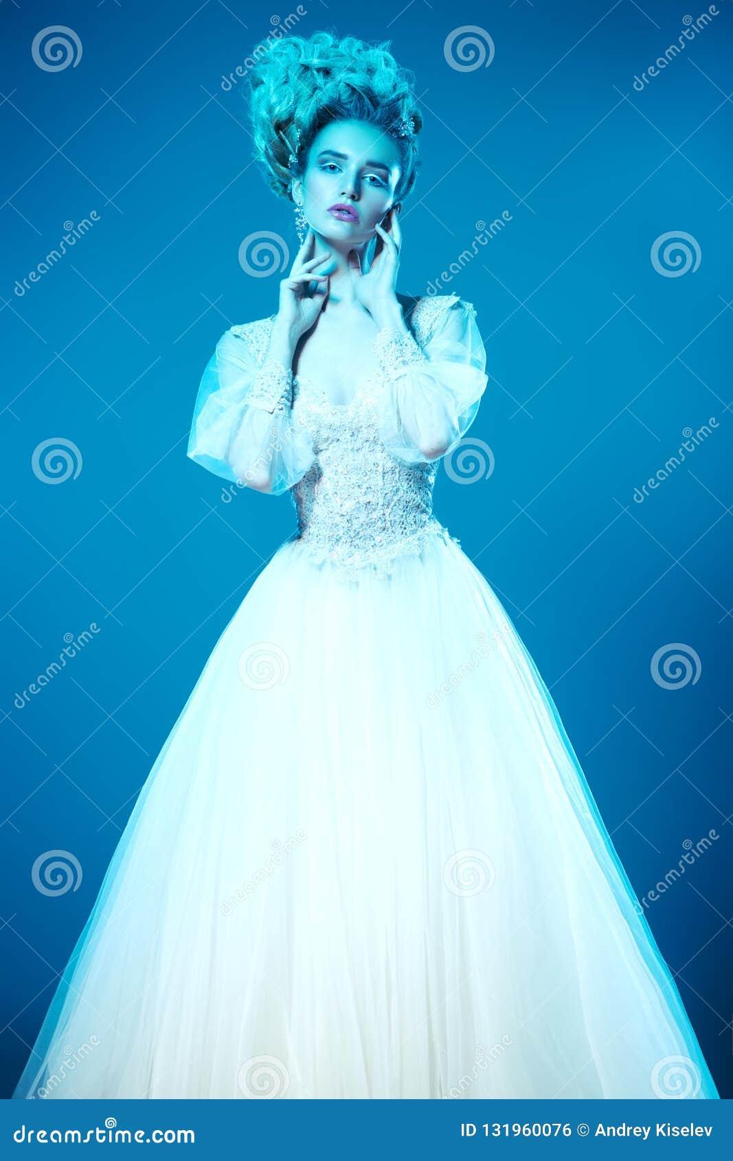 Posing in fluffy dress