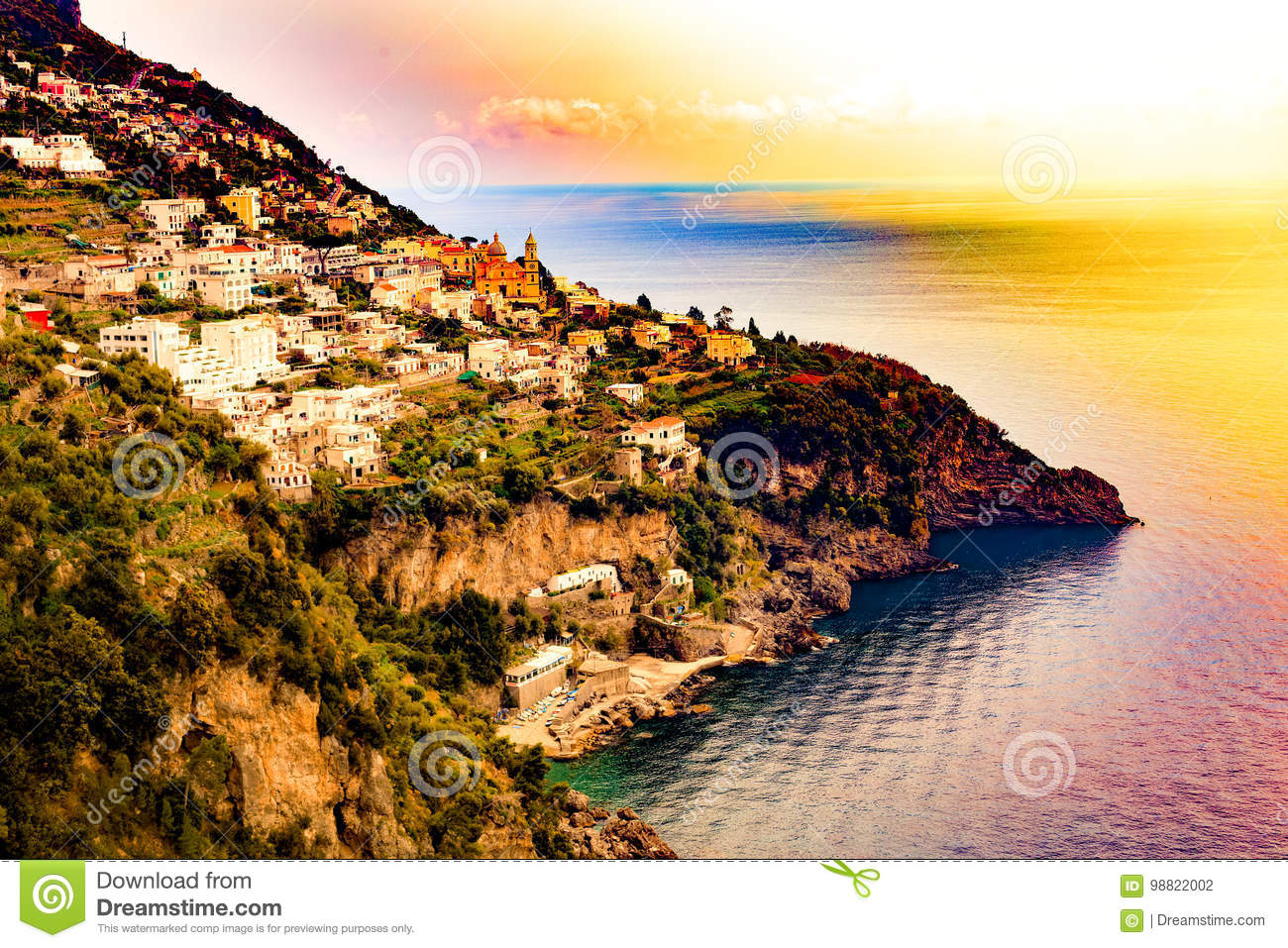 Positano, Amalfi Coast, Campania, Sorrento, Italy. Fantastik View of the town and the seaside in a summer sunset.