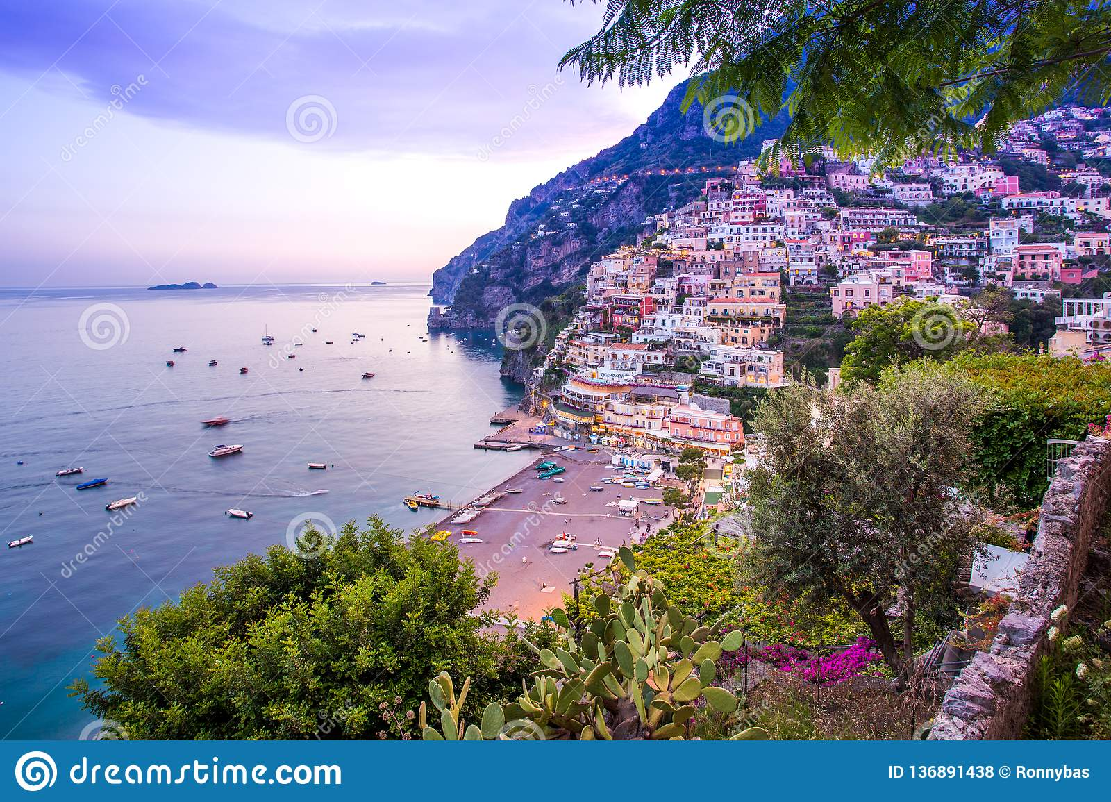 Positano Amalfi Coast Italy Scenic View Of Town And Beach