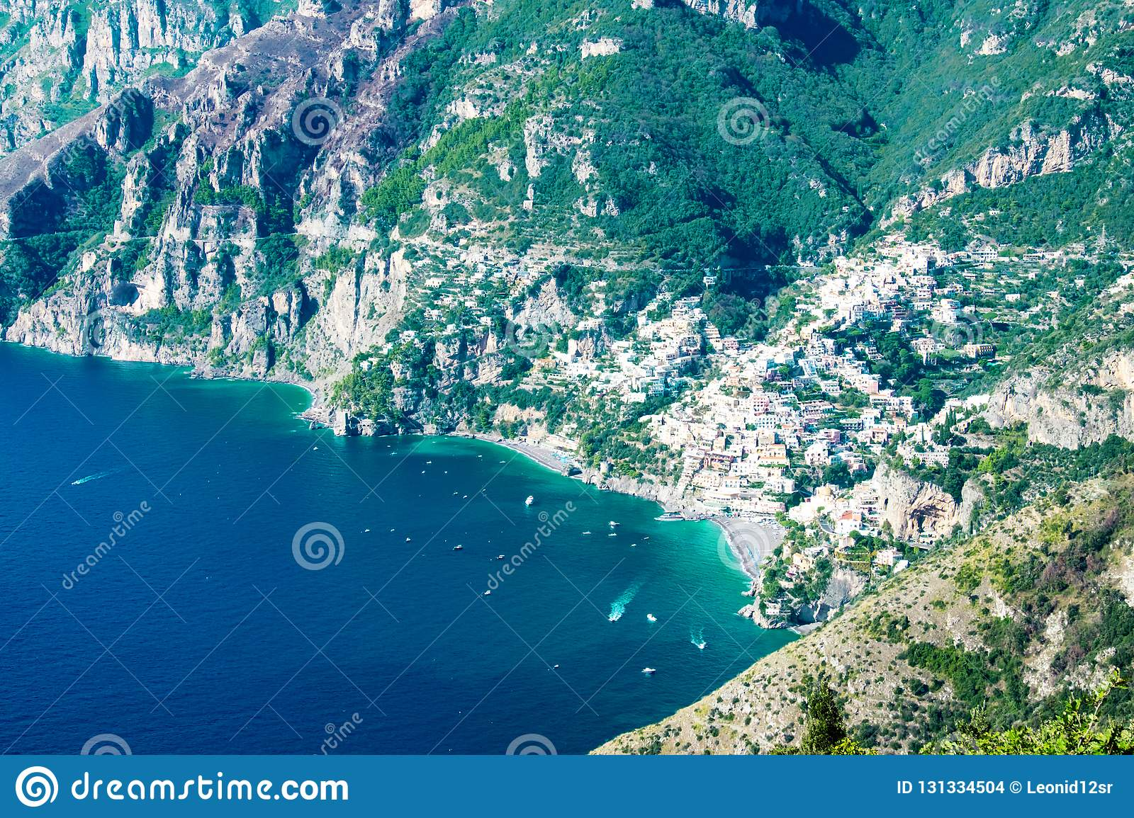 Positano With The Beach And Houses Located On The Rock