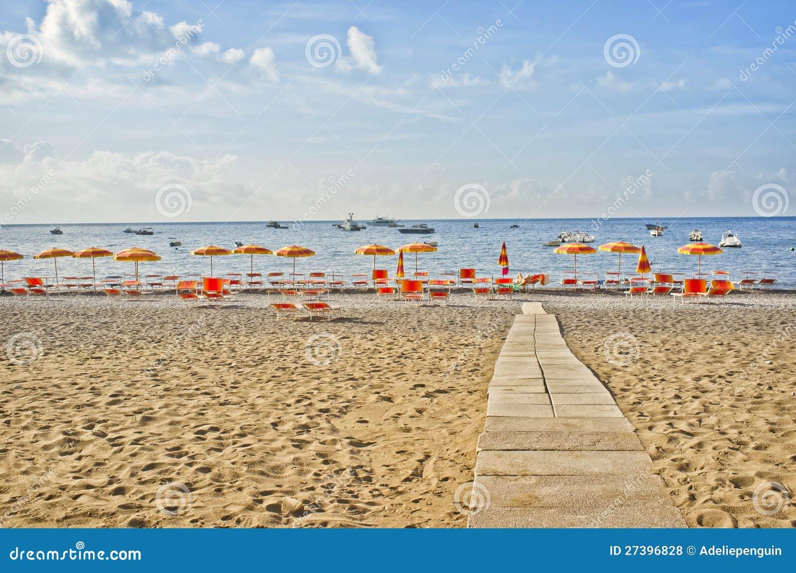 Positano Plaża, Amalfi Wybrzeże, Włochy