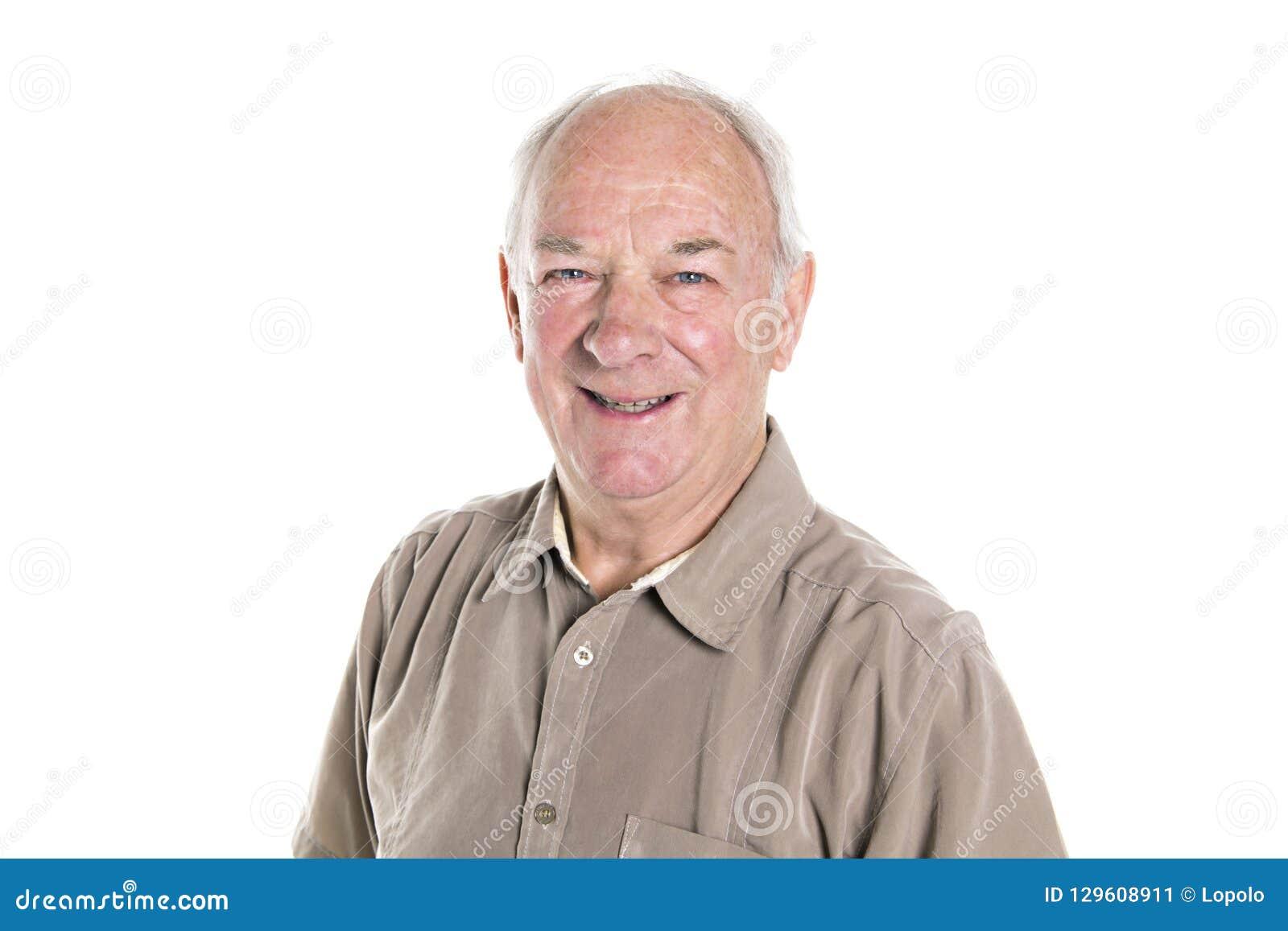 Position an de l homme 70 supérieur d isolement sur le fond blanc
