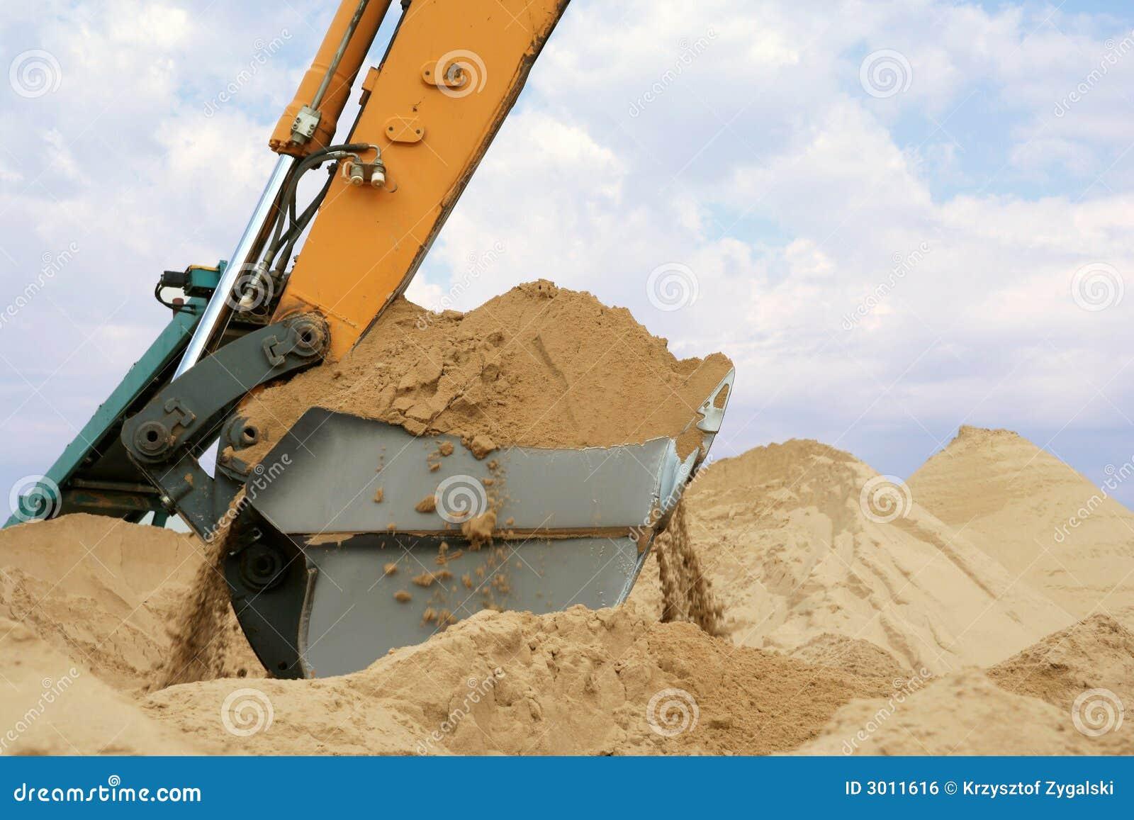 Position de pelle complètement de sable