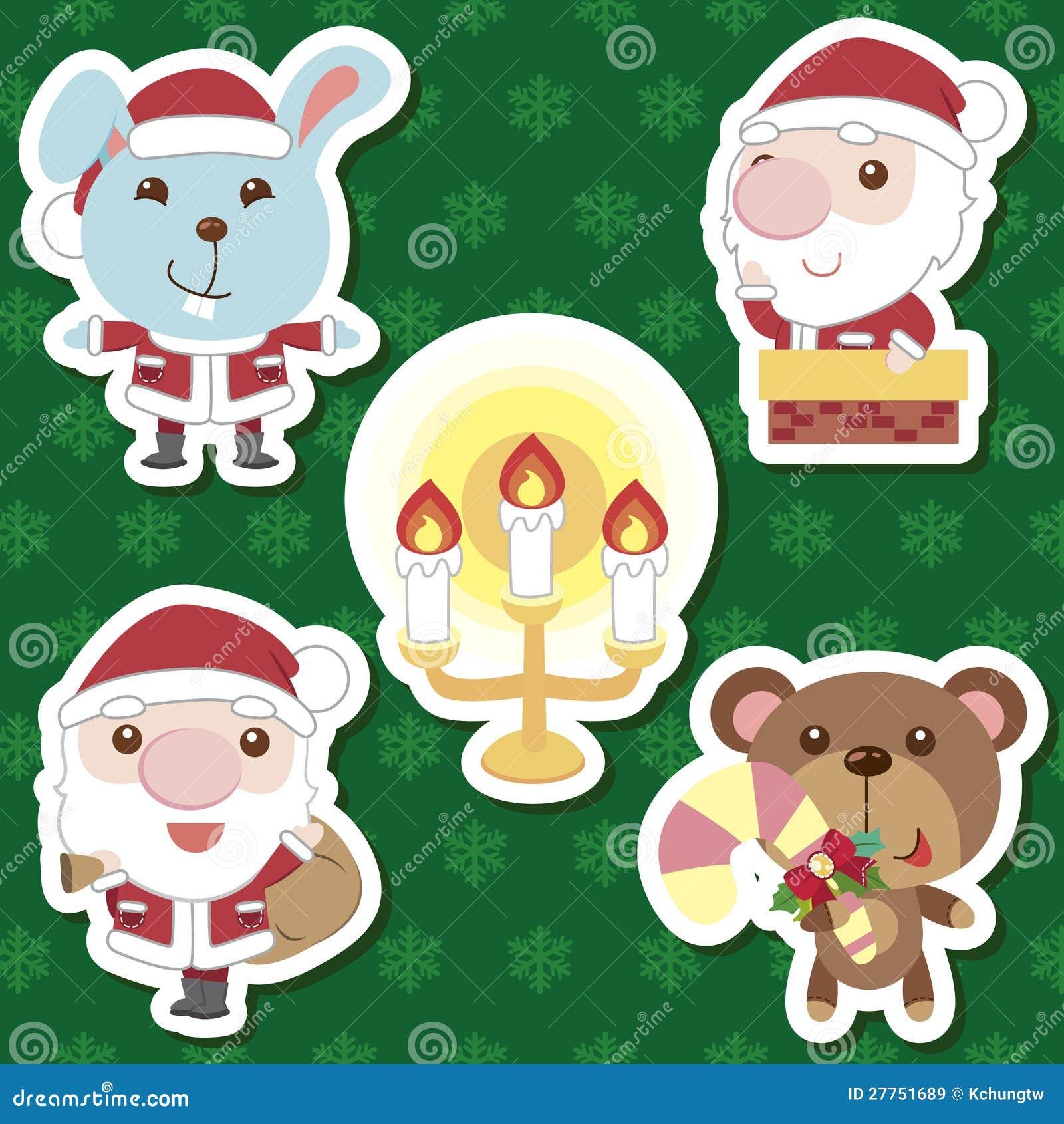 Positionnement animal du père noël de dessin animé mignon de Noël