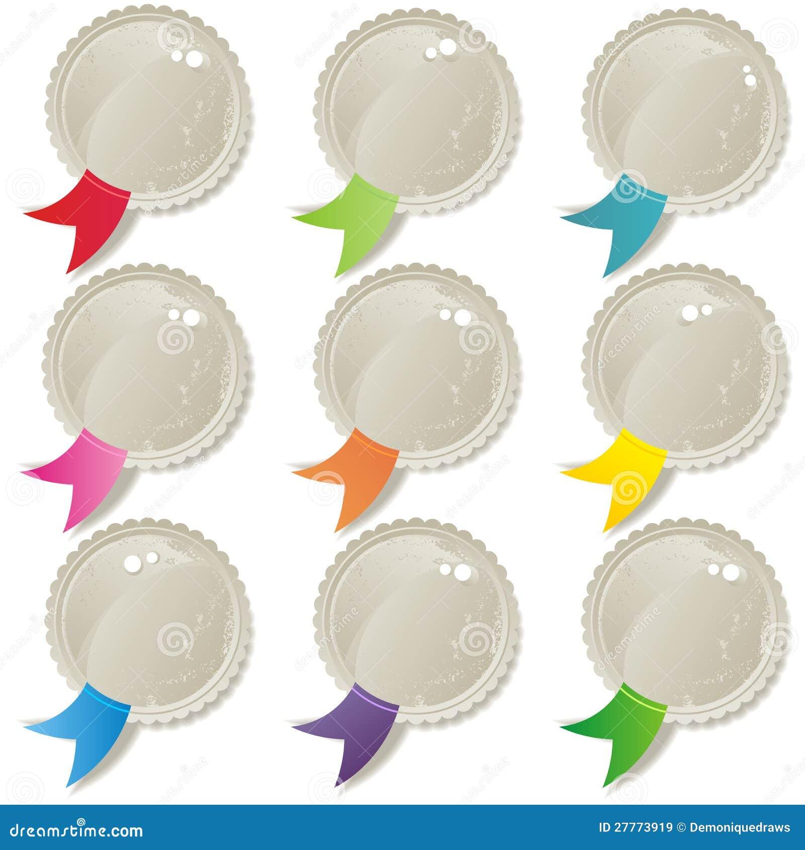 Positionnement blanc brillant de bouton de bandes colorées