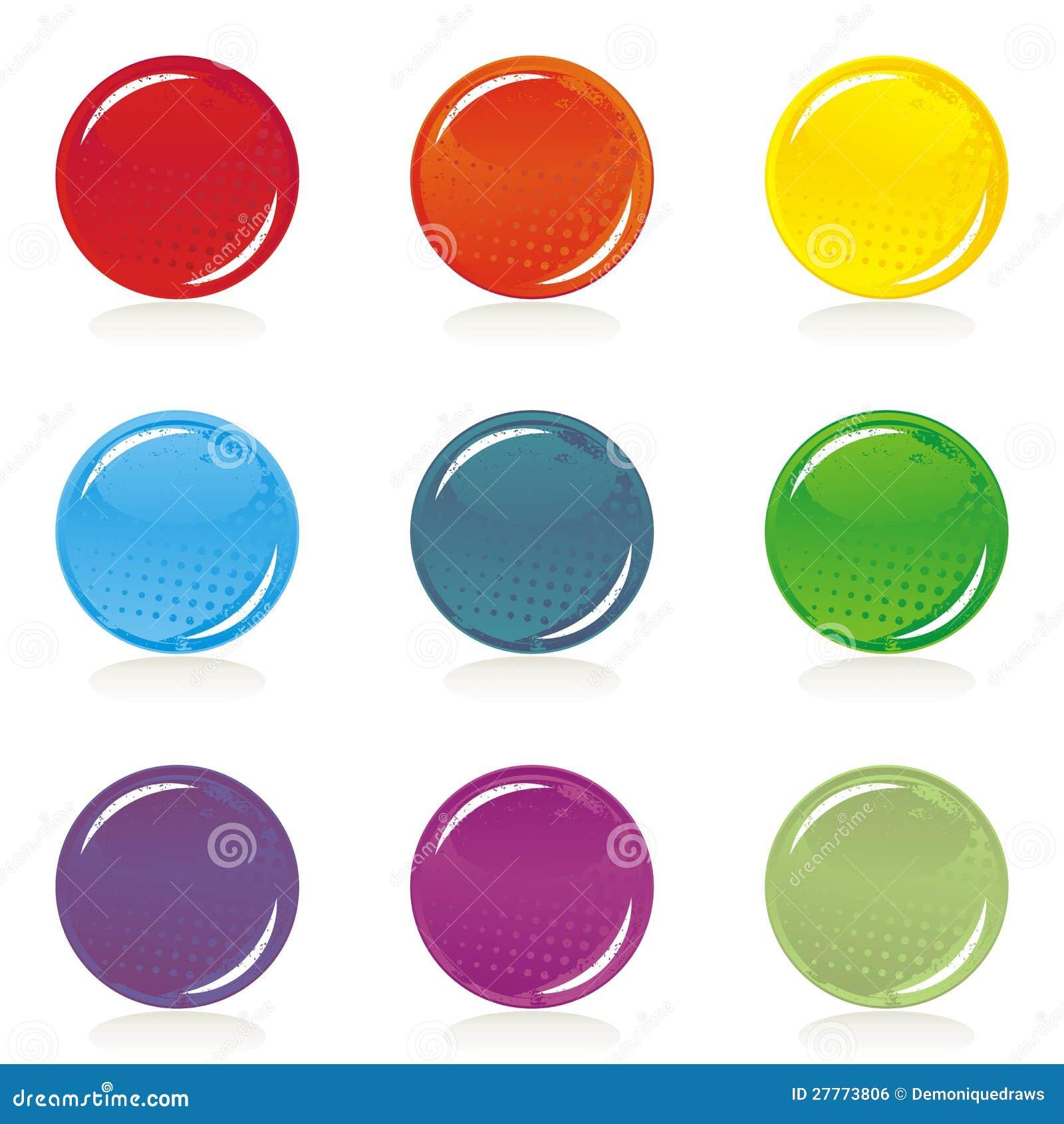Positionnement blanc coloré brillant de bouton