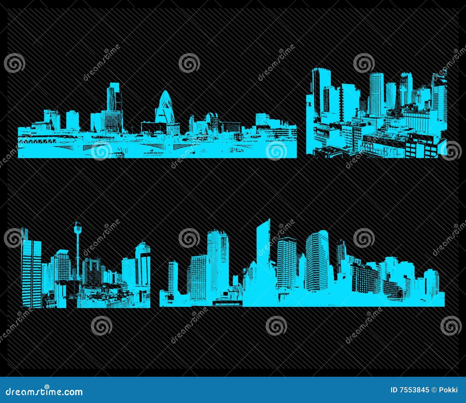 Positionnement bleu de ville. Vecteur