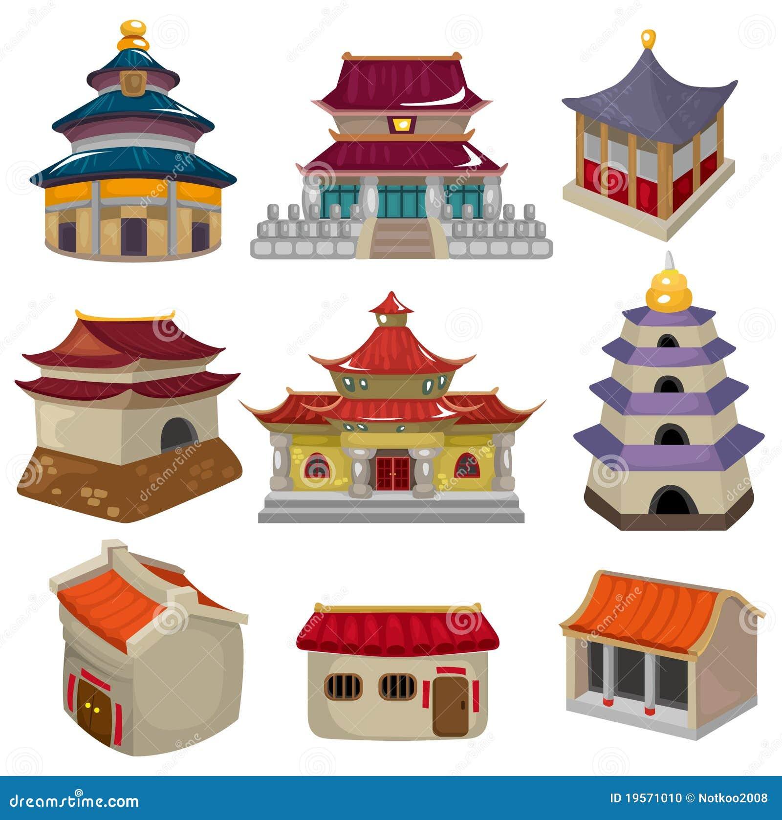 Positionnement chinois de graphisme de maison de dessin animé