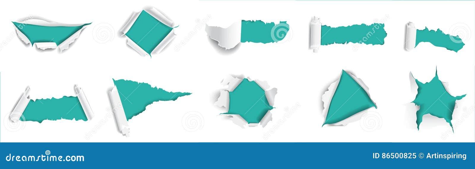 Positionnement déchiré de papier