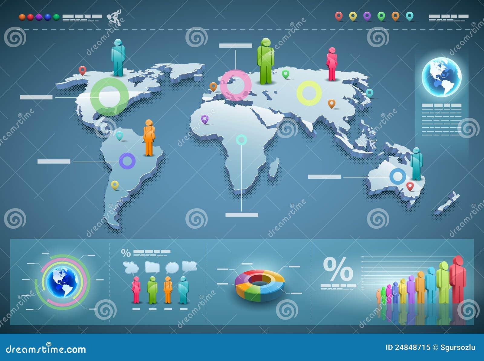 Positionnement d infographics du monde de vecteur.