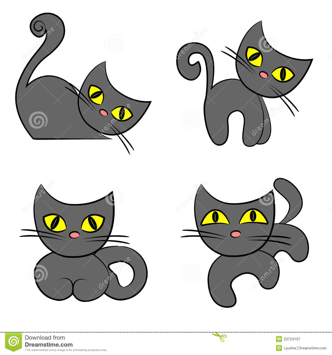 Positionnement De Chat Noir Ramassage D Animal Familier De Dessin