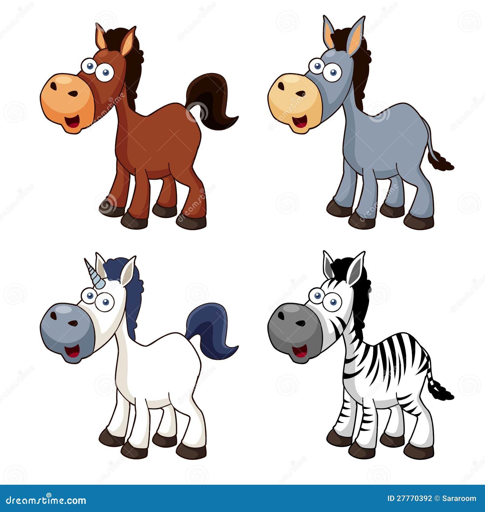 Positionnement de cheval de dessin animé