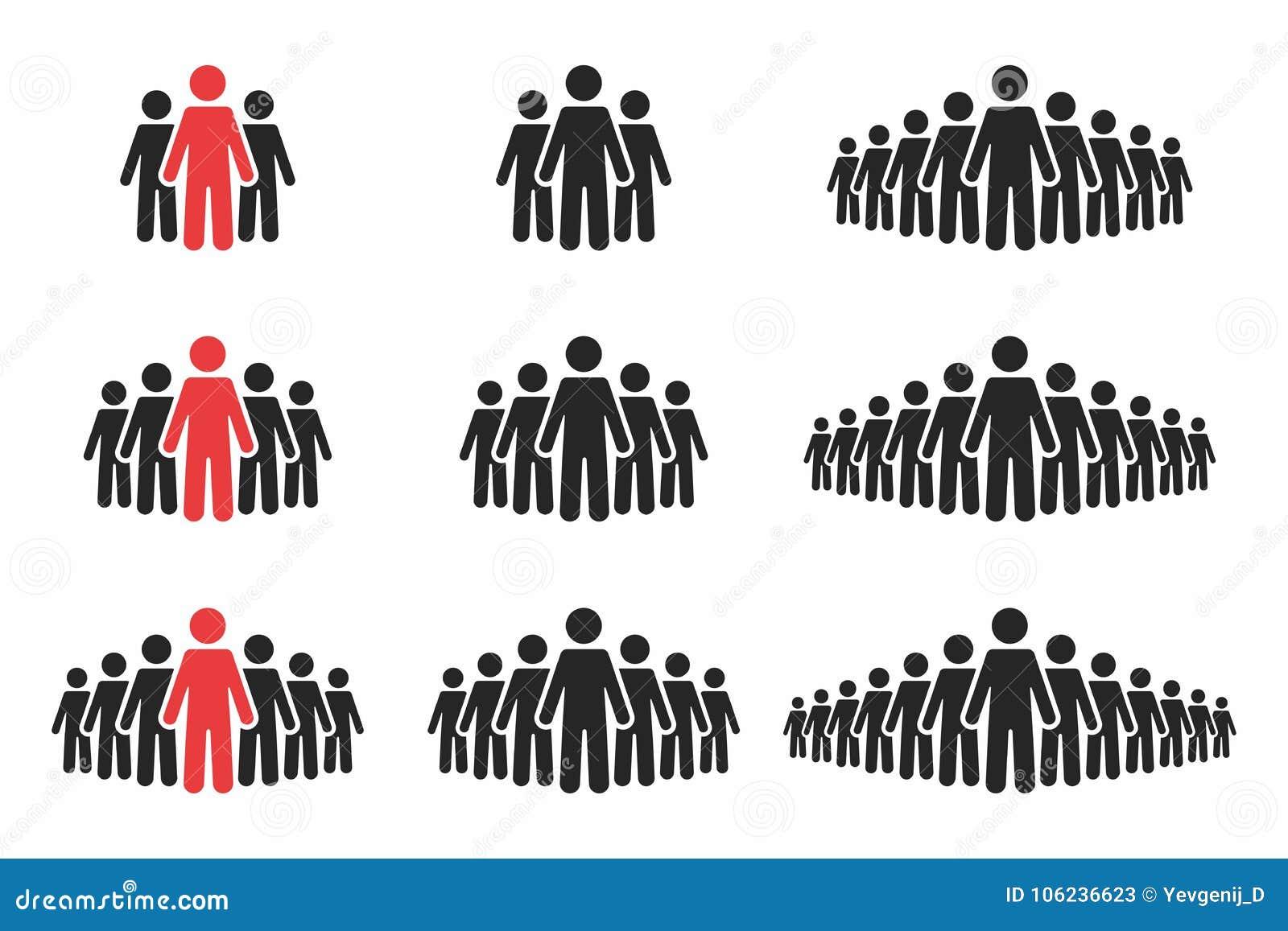 Positionnement de graphisme de gens Foule des personnes dans des couleurs noires et rouges Groupe de personnes dans la forme de p