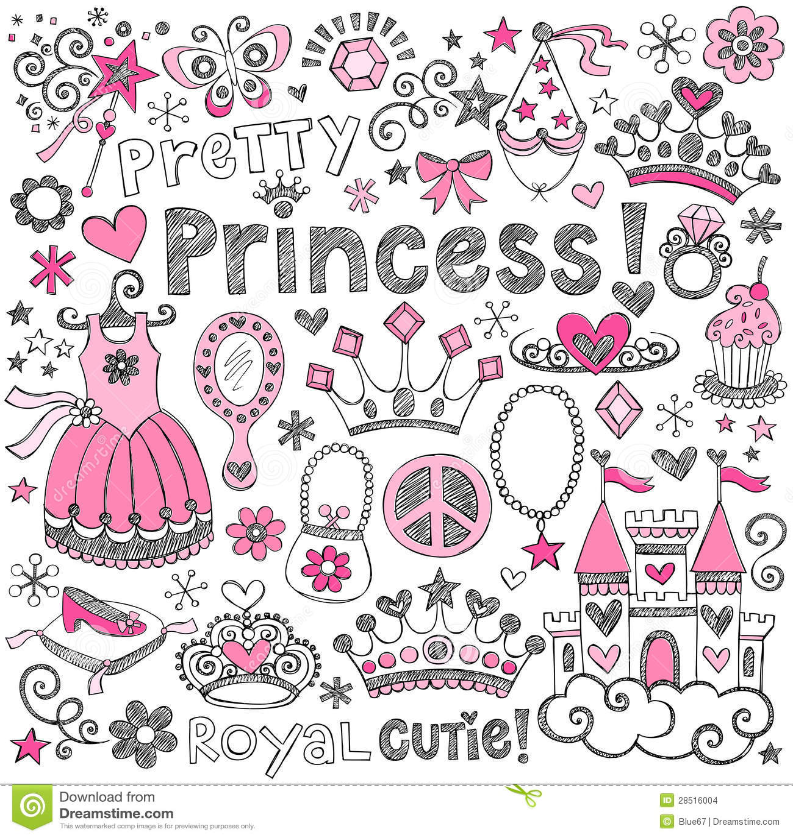 Positionnement de vecteur de princesse Tiara Royalty Sketchy Doodles