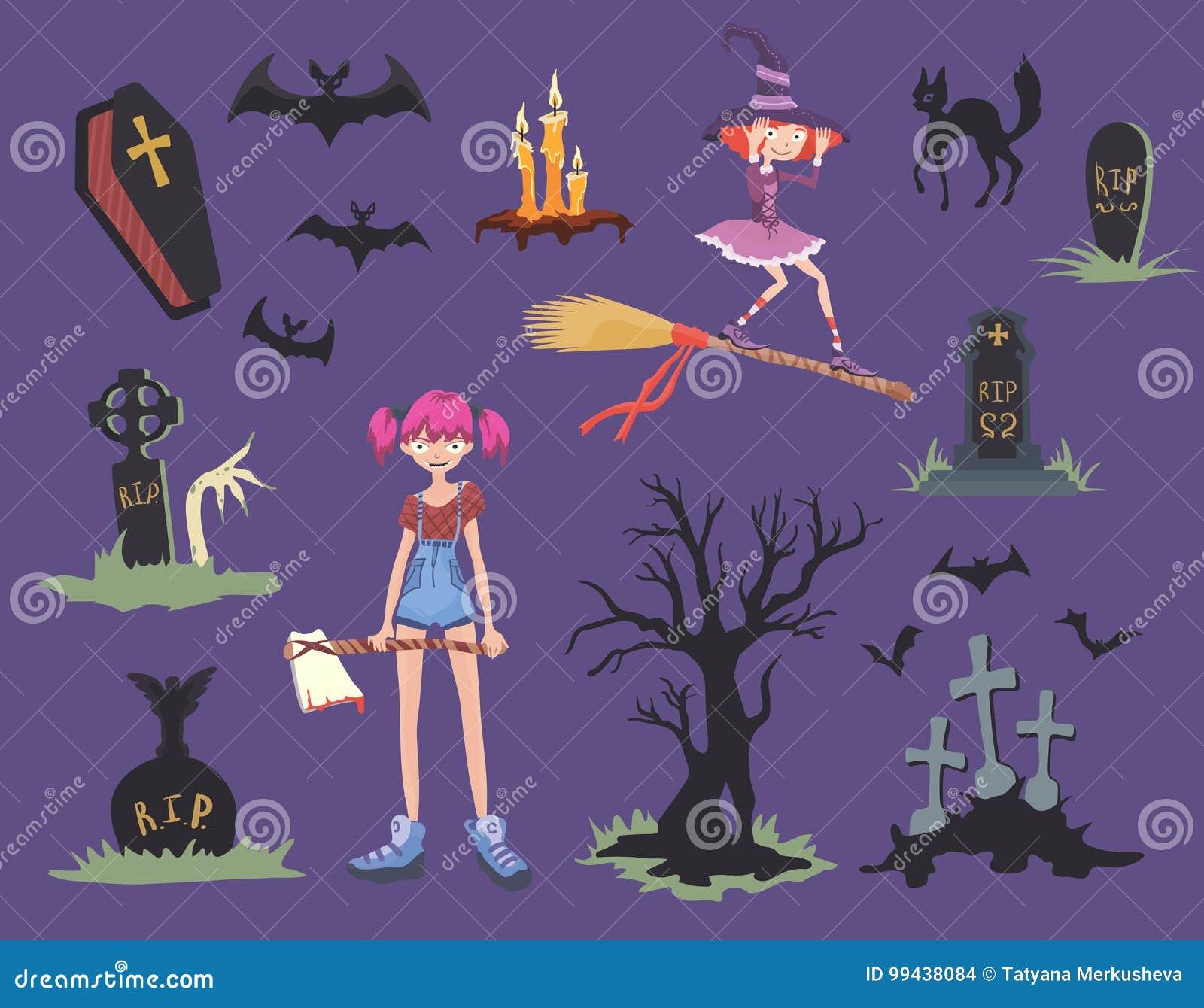 Positionnement de Veille de la toussaint Fille avec la hache, le chat noir, la sorcière sur un balai, les pierres tombales et d a