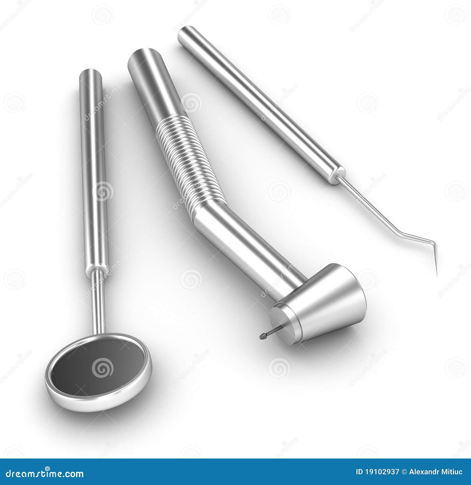 Positionnement dentaire miroir sonde et foret for Miroir de dentiste