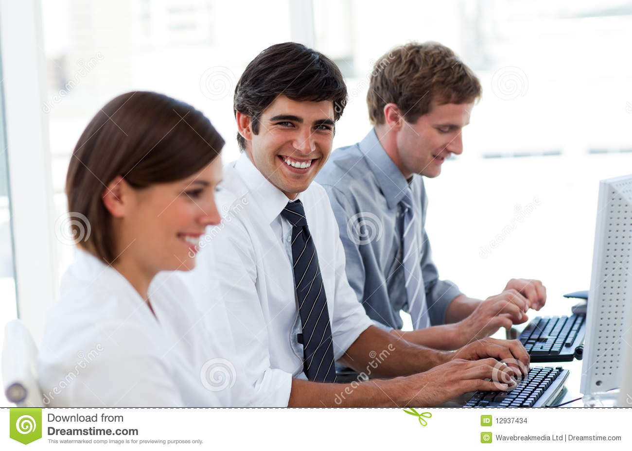 Positive Business People Working At Computers Stock Images ...