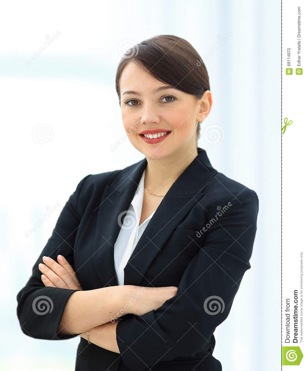 Positive business woman smiling over white
